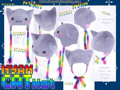 Nyan Cat Hat by KayPikeFashion on DeviantArt Nyan Cat, Bear Character, Character Design, Wolf Hat, Last Minute Costumes, Aviator Hat, All Things Cute, Nerdy Things, Cat Hat
