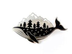 Silver Whale-derness Enamel Pin