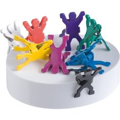 memo holder with eight metal men on a magnetic base Creative Gifts, Unique Gifts, Desk Set, Corporate Gifts, Magnets, Birthday Cake, Fun, South Africa, Rainbow