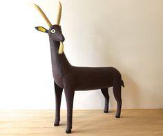 Vintage Folk art Goat Sculpture  Hand Carved by VintageParamour