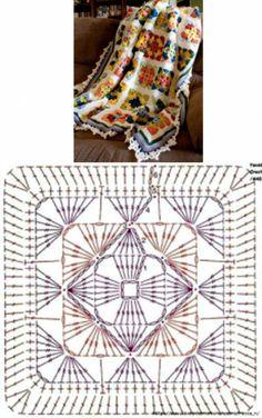 Плед из бабушкиного квадрата. Схема
