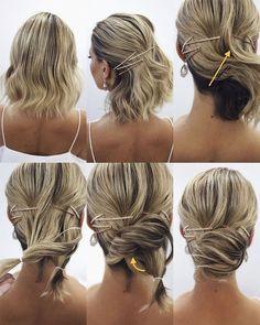 Elegant Prom Updo Tutorial Short Blonde Hair With Hairpin Short Blonde Updo, Short Hair Bun, Short Hair Styles, Blonde Hair, Braided Hairstyles Updo, Down Hairstyles, Prom Hairstyles, Updo Hairstyle, Hairdos
