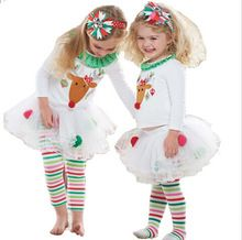 TZ284,2016 Children girls clothing sets baby Girls Christmas Santa suits Kids girls clothes baby girls clothes dressed up(China (Mainland))