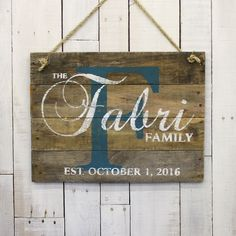 Custom Wood Sign, Pallet Last Name Sign, Rustic Family Established Sign, Distressed Personalized Name Sign, Personalized Wedding Gift, by EverydayCreationsJen on Etsy https://www.etsy.com/listing/223330022/custom-wood-sign-pallet-last-name-sign