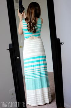 Dear Stitch Fix stylist, I love the peekaboo on the back of the dress and the colors. I have been on maxi dress kick lately. Unfortunately, I don't like the horizontal stripes as they make me look wider. The fabric looks very comfy.