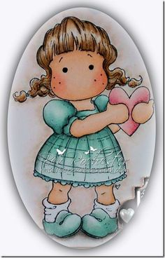 Tilda holding heart has been coloured with Copics and Prisma Pencils (just the black and brown were used for this image).  Copics used are   Hair:  E33, E53, E51, E50 & brown pencil   Skin: E21, E00, E000, R20    Dress & Shoes: BG72, BG11, BG10 & black pencil    Heart: R20, R22 & black pencil    Shading around Tilda:  C1, C0, C00, BG10, E00, E000 – These I just dotted around then blended the whole lot with E0000 when I was done