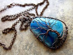 Blue Agate Antiqued Copper Tree of Life Necklace