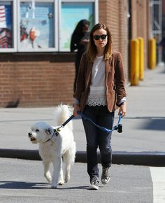 Olivia Wilde Takes Her Dog for a Walk