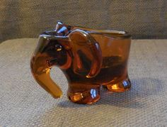 Gorgeous c1970 Retro AMBER GLASS Figural ELEPHANT Ornament Ashtray Dish...Vintage Mid Century Art Glass Animal Wildlife Figurine! by SlimandSugar on Etsy
