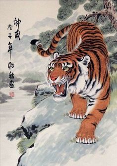 Invincible Might Chinese Tiger Wall Scroll - Asian Art Japanese Tiger Art, Japanese Tiger Tattoo, Chinese Tiger, Japanese Prints, Chinese Art, Chinese Dragon, Japanese Fabric, Tiger Drawing, Tiger Painting