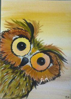 5x7 whimsical eagle owl boy hide looking face birds original watercolor painting j.o.. $9.00, via Etsy.