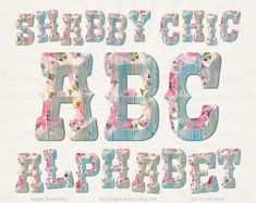 #shabby #shabbychic #clipart #alphabet #wooden #letters #turquoise #floral #cottage #roses #rustic #wood