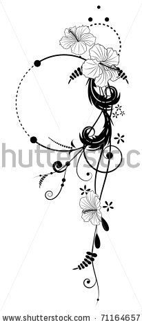 stock vector vector floral banners with flowers of hibiscus in black and white colors Leg Tattoos, Flower Tattoos, Body Art Tattoos, Tribal Tattoos, Sleeve Tattoos, Tattoo Floral, Tatouage Abdomen, Hibiscus Flowers, Tatoo