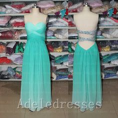 Sexy Open Back Green Ombre Prom Dress ,A Line Floor Length Ruffles Beaded Evening Prom Dresses,Long Prom Gown Ombre Bridesmaid Dresses