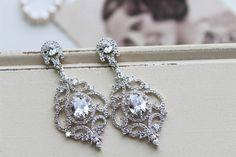Art Deco Earrings , Vintage Style Crystal Earrings, Zircon  Bridal Earrings,  Wedding Earrings,  Crystal  Drop Earrings,  Stud Earrings ,