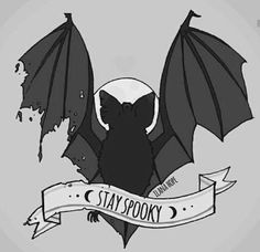 """Stay Spooky"" Bat illustration."