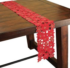 Festive Poinsettia Embroidered Cutwork Holiday Table Runner