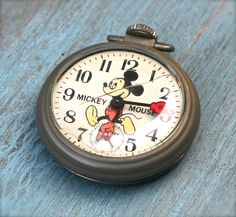 Vintage Mickey Mouse Pocket Watch by ivorybird on Etsy Disney Princess Facts, Disney Fun Facts, Disney Souvenirs, Disney Toys, Disney Movies, Disney Characters, Vintage Mickey Mouse, Mickey Minnie Mouse, Disney Magical World