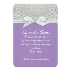 lavender damask ribbon | Ribbon Purple/Silver Lace Damask Save the date 3.5x5 Paper Invitation ...