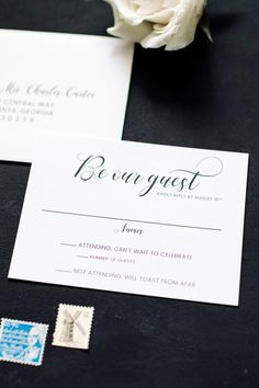 Be Our Guest Unique RSVP Cards for a Modern City Wedding  black and white wedding, modern wedding, urban wedding, city wedding, simple wedding invitations, modern wedding invitations