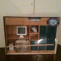 Dollhouse Loft Bed Bedroom Furniture With Computer Oak Blue Boys Teen's Room   eBay