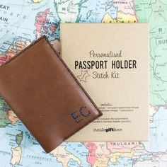 Personalised Leather Passport Holder Sewing Kit | Create Gift Love £35    A fun sewing kit for a leather passport holder, making a great personalised gift. Perfect for Mother's Day, birthdays or for the globetrotter in your life.    http://www.creategiftlove.co.uk/collections/personalised-mothers-day-gifts/products/personalised-leather-passport-holder-sewing-kit    #mothersday #personalised #sewingkit #creategiftlove