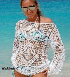 Fada do Crochet: TUNICA NUDE MARINA