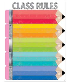 This cute and colorful Upcycle Style Class Rules chart brings back old school charm with its iconic wooden pencils design. The familiar wood, pink rubber eraser and sharpened lead tip are a nostalgic nod to the classic No. 2 pencil.