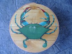 Blue Crab painted Cheese Box