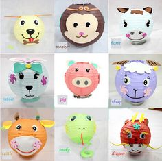 Bola de papel linterna china Manual de dibujos animados del zodiaco faroles que cuelgan linterna de papel adorno para la decoración del día del niño