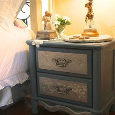 Painting His and Hers Nightstands...French Influence