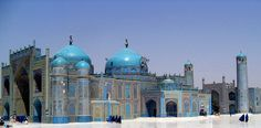 Blue Mosque in Mazar-e-Sharif, Afghanistan. The Sultan Ahmad Mosque, completed in 1481.