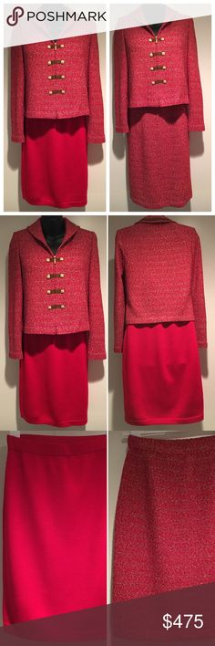 "St John 3-Piece Red Suit~One Jacket/Two Skirts ~THREE PIECE SUIT~  St John Collection 2-Piece Red Tweed Knit Suit with Jacket and Matching Skirt PLUS Coordinating Solid Red St John Evening by Marie Gray Knit Skirt  All Size 2  Red Tweed Skirt Length (Waist to Hem): 24"" Knee Length Red Skirt Length (Waist to Hem): 21 1/2"" Knee Length  Excellent, mint condition. Perfect, with no stains, spots, flaws or tears.  See photos for details.  Also, see coordinating Size 2 St. John pants in red and in…"