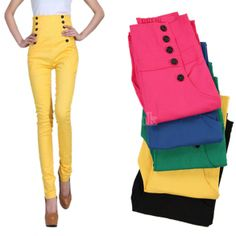 Women's Double Breasted Candy Color High Waist Pants Straight Pants Trousers