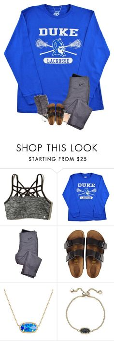 """my bday is saturday! goin to the mall and movies with friends"" by sarah-grace-m ❤ liked on Polyvore featuring Hollister Co., NIKE, Aéropostale, Birkenstock, Kendra Scott and Ted Baker"