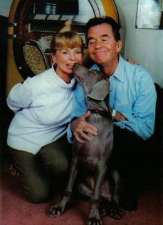 Dick Clark and wife Kari, with their Weim Henry...  Oh you wonderful man, rest peacefully.