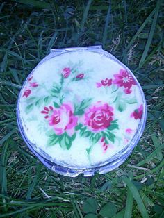 Floral fabric backed hand mirror