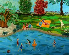 Tirza - Swimming Pool Naive Art, Artist Gallery, Artist Painting, New Friends, Galleries, Israel, Folk, Swim, Paintings