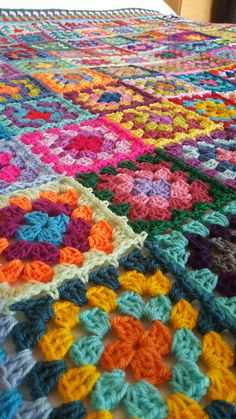 Retro Granny Squares BLANKET Afghan Crocheted Sofa by Thesunroomuk