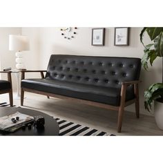Baxton Studio Sorrento Mid-century Retro Modern Black Faux Leather Upholstered Wooden 3-seater Sofa | Overstock.com Shopping - The Best Deals on Sofas & Loveseats