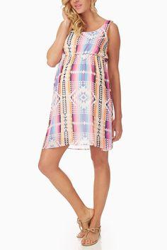 Pink Multi Colored Tribal Print Maternity Dress #maternity #fashion