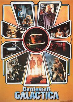 Battlestar Galactica poster, ca 1978 80 Tv Shows, Sci Fi Tv Shows, Sci Fi Series, Tv Series, Battlestar Galactica Movie, Kampfstern Galactica, Richard Hatch, Sci Fi Novels, Old Tv