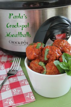 Paula Deen's Crockpot Meatballs. These are delicious, we made them for a birthday party and they were a huge hit!