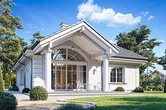 Projekt Dom na parkowej 7 B 151,65 m2 - koszt budowy 213 tys. zł - EXTRADOM Small Modern House Plans, Beautiful House Plans, Beautiful Homes, Village House Design, Village Houses, Front Porch Design, Family House Plans, Minimalist House Design, Luxury House Plans