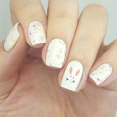 Easter Bunny Accent Nail Idea