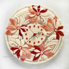 Fused glass wall clock RED PEARL FLOWERS | Fused glass - fusing