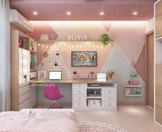 One accent wall like this paint in Kennedy's bedroom, the rest grey. Girl Bedroom Designs, Girls Bedroom, Room Interior, Interior Design Living Room, Home Room Design, Dream Rooms, House Rooms, Room Decor Bedroom, Girl Room