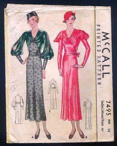 McCall 7495 | ca. 1933 Ladies' & Misses' Dress