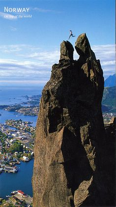 Jumping from Storhorn to Lillehorn on the Svolværgeita pinnacle in Svolvær, Norway, Lofoten Lofoten, The Places Youll Go, Places To See, Beautiful World, Beautiful Places, Cool Pictures, Cool Photos, Jolie Photo, Adventure Is Out There