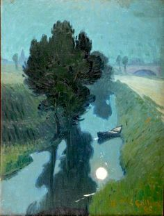 "Charles Victor GUILLOUX (1866-1946)""Clair de Lune"" (1895)Oil on canvas, marouflaged on panel 33x25,5 cm"
